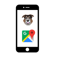 graphic of cellphone with PACO app icon and Google Maps icon